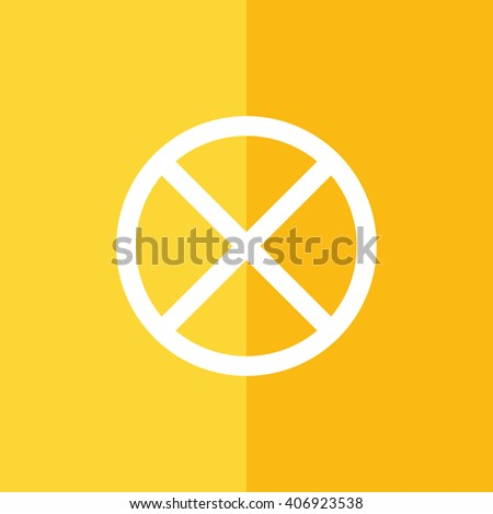 White no parking vector sign. Yellow background - stock vector