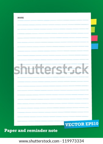 white Note Paper on green board - stock vector