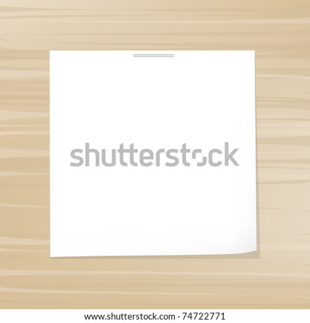 White Note Paper On Wood Background, Vector Illustration