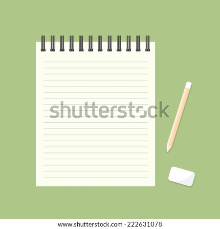 White note paper  with pencil and eraser. - stock vector