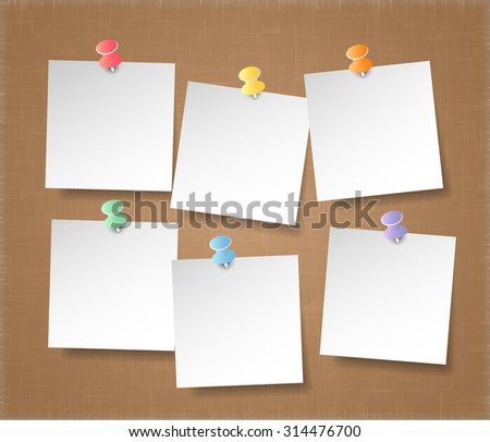 white note papers on brown background, vector eps10 - stock vector