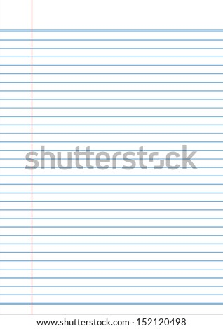 white notebook paper with blue line / vector and illustration - stock vector