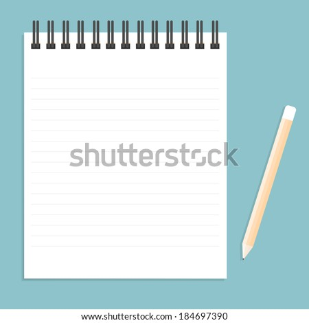 White notebook with lines can shred and pencil. vector illustration