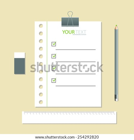 White notebook with lines can shred and pencil. vector illustration - stock vector