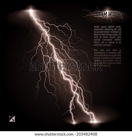 White oblique branchy lightning line. Illustration with space for text - stock vector