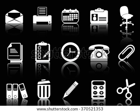 white office and documents icons set