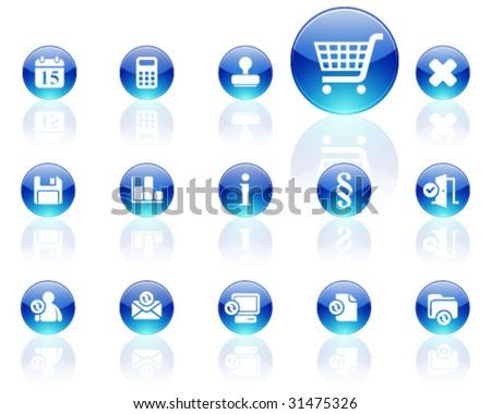 white on blue aqua icons | set 13 - stock vector