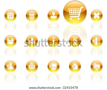 white on yellow aqua icons | set 13 - stock vector