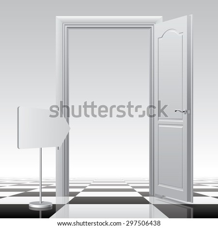 White open door with a sign on the chess floor. Vector illustration - stock vector