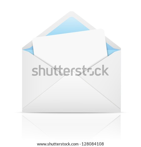 White open envelope with paper - stock vector