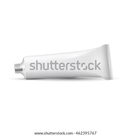 White open tube of paint. Vector realistic illustration