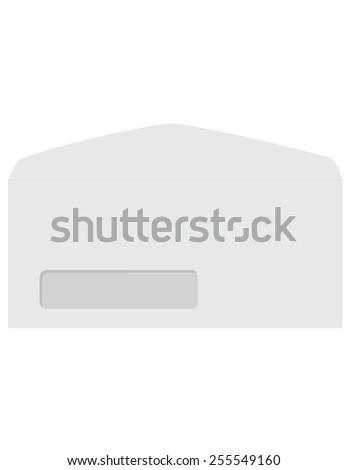 White opened empty envelope template with transparent window vector icon isolated  - stock vector
