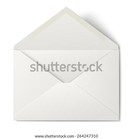 White opened envelope isolated on white background  - stock vector