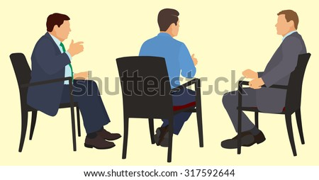 White or Caucasian American Businessman Sitting in Chairs Having a Meeting - stock vector