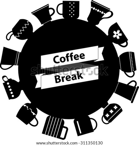 "White origami ribbon ""Coffee Break"" and various teacups background. Cute symbol of coffee time. Rest Tagline. Circle label. Cups and mugs collection. - stock vector"