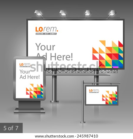 White outdoor advertising design for corporate identity with color triangles. Stationery set - stock vector