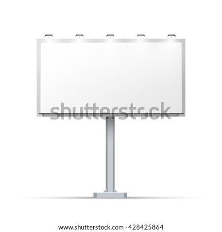 White outdoor billboard with place for advertising and with lighting - stock vector