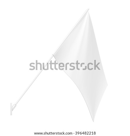 White Outdoor Wall Mount Flag Stander Advertising Banner Shield. Mock Up Products On White Background Isolated. Ready For Your Design. Product Packing. Vector EPS10 - stock vector