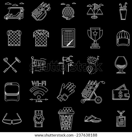 White outline vector icons for golf. White contour icons vector collection of elements and symbols for golf on black background. - stock vector