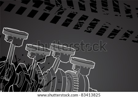 White outline vector illustration (engine pistons) - stock vector
