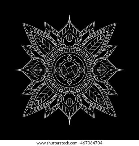 White Outlined Mandala On Black Background Vector Illustration Hindu Style Ethnic Decoration Element For
