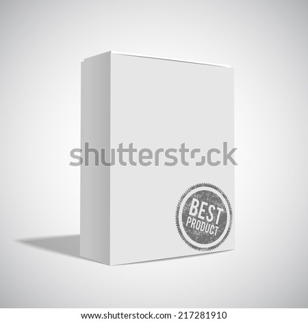 White Package Box with badge best product - stock vector
