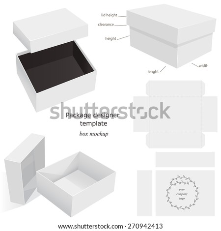 White Package Mockup Box, opened, closed, template, front and side layout. Isolated on White Background Ready For Your Design. Product package Vector EPS10