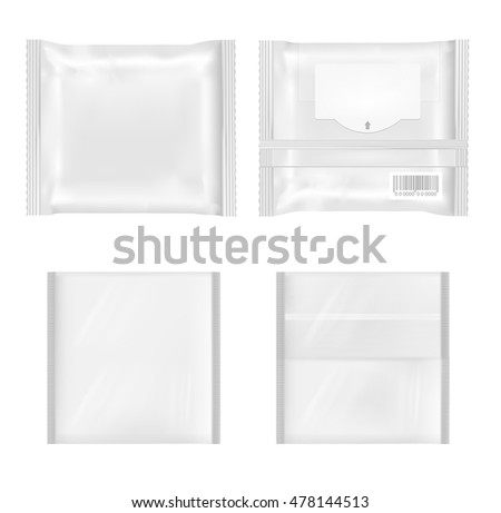 White package with flap for snacks, food, chips, cheese and spices.