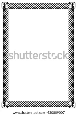 White page framed with black interlaced stripes forming a fancy pattern border, Celtic knots at the corners.