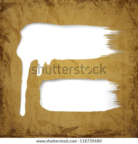 White paint dripping over brown paper sheet. Vector illustration.