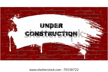 White Paint strokes and Splashes on aged Brick wall - Backdrop for your text or design - easy editable color vector illustration - stock vector