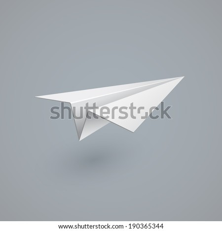 White paper airplane. Vector illustration
