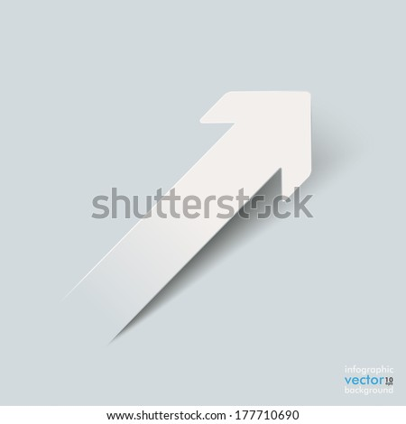 White paper arrow on the grey background. Eps 10 vector file. - stock vector