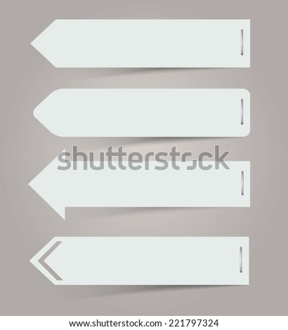White paper arrows. Vector Illustration. - stock vector
