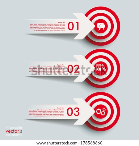White paper arrows with targets on the grey background. Eps 10 vector file. - stock vector