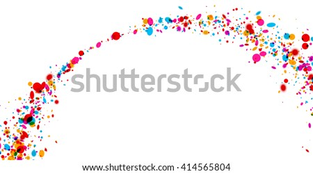 White paper background with arch of color drops. Vector illustration. - stock vector