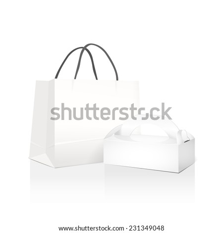 white paper bag and box isolated on white background  - stock vector