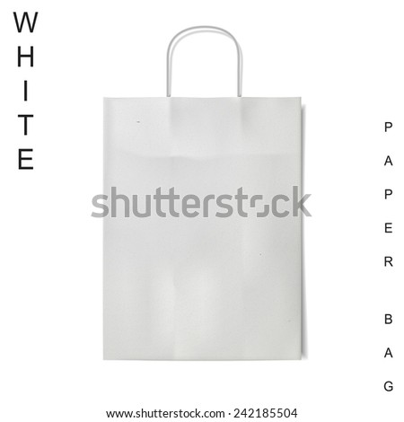 white paper bag isolated on white background