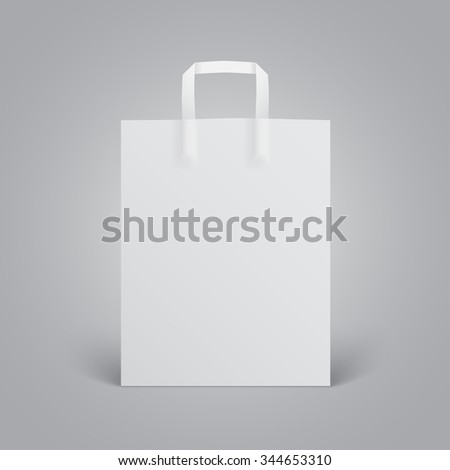 White paper bag mockup with handles on grey background - stock vector