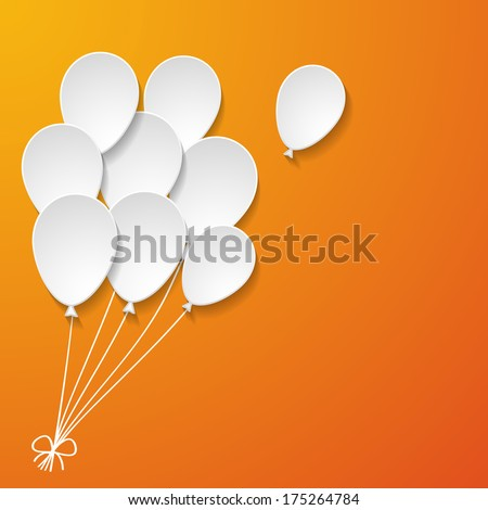 white paper balloons on the orange background - stock vector