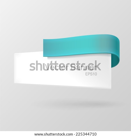 White paper banner decorated with turquoise ribbon. Isolated on gray background. With Space For Text. Vector illustration.