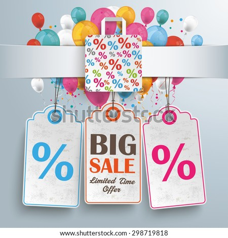 White paper banner, shopping bag, price stickers and colored balloons.  Eps 10 vector file. - stock vector