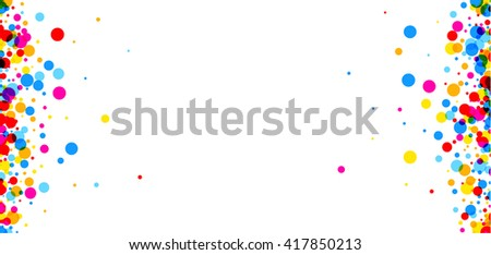 White paper banner with color drops. Vector illustration.