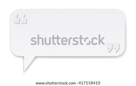 white paper banner with quotes symbol - stock vector