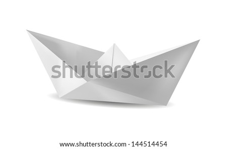 White paper boat. EPS10 vector.