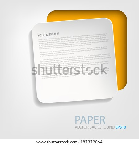 White paper box background on orange frame vector abstract on grey white background for text and message design - stock vector
