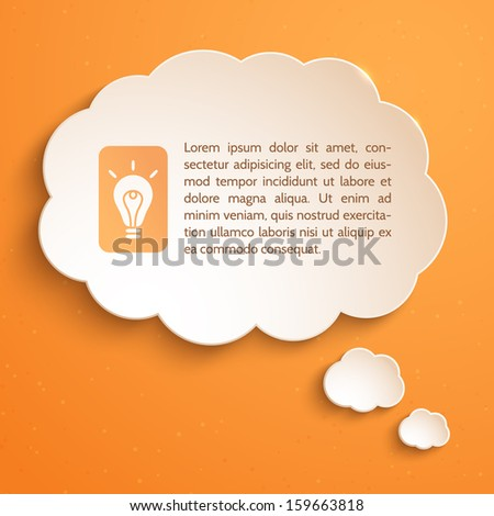 White paper bubble for speech on an orange background. Creative idea. Infographic elements. Abstract design. Vector illustration. - stock vector