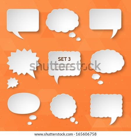 White paper bubbles for speech on an orange background. Universal set 3. Abstract design. Vector illustration. - stock vector