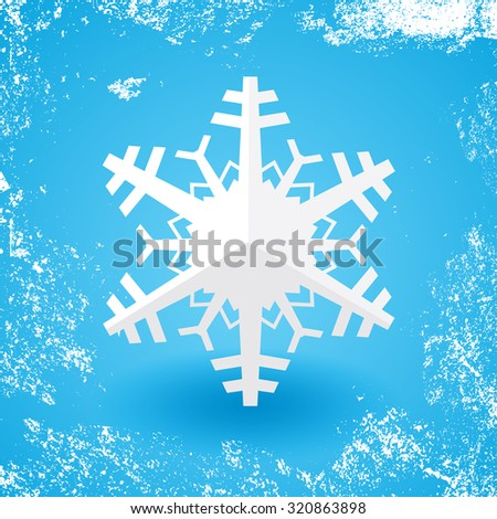 White paper christmas snowflake on a blue background with shadow and white snow grunge - stock vector