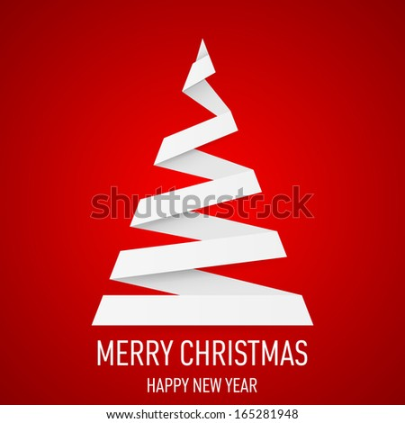 White paper Christmas tree in origami style on red background. - stock vector